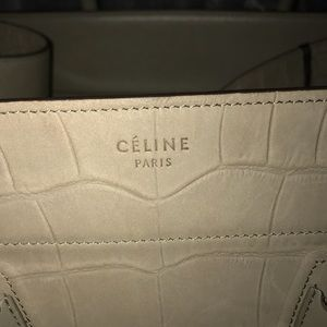 Celine Bags   Croc Stamped Nubuck Medium Phantom Luggage   Poshmark 189803a40c